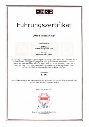 GÖTH Solutions - ANKÖ Auftragnehmerkataster Österreich / Führungszeugnis 2015