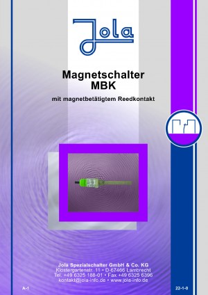 JOLA - Produktkatalog Neuheiten EX -MAGNETSCHALTER Edelstahl