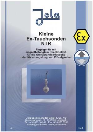 JOLA - Produktneuheit KLEINE EX-TAUCHSONDEN Type NTR -EX