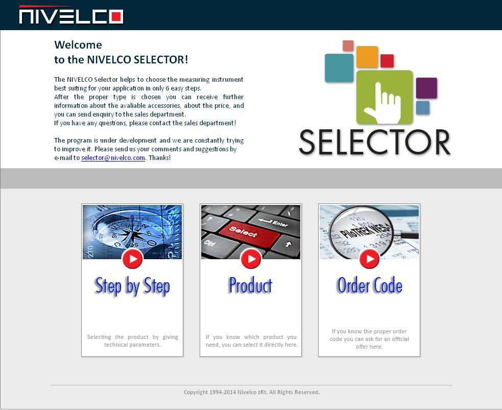 NIVELCO - Online Produkt Selector ** NEU **